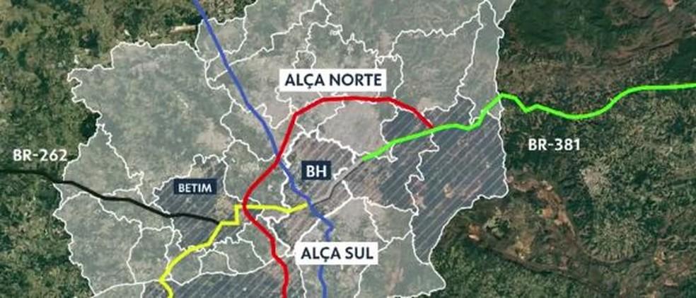 Projeto do Rodoanel na Região Metropolitana de Belo Horizonte— Foto: Reprodução/TV Globo