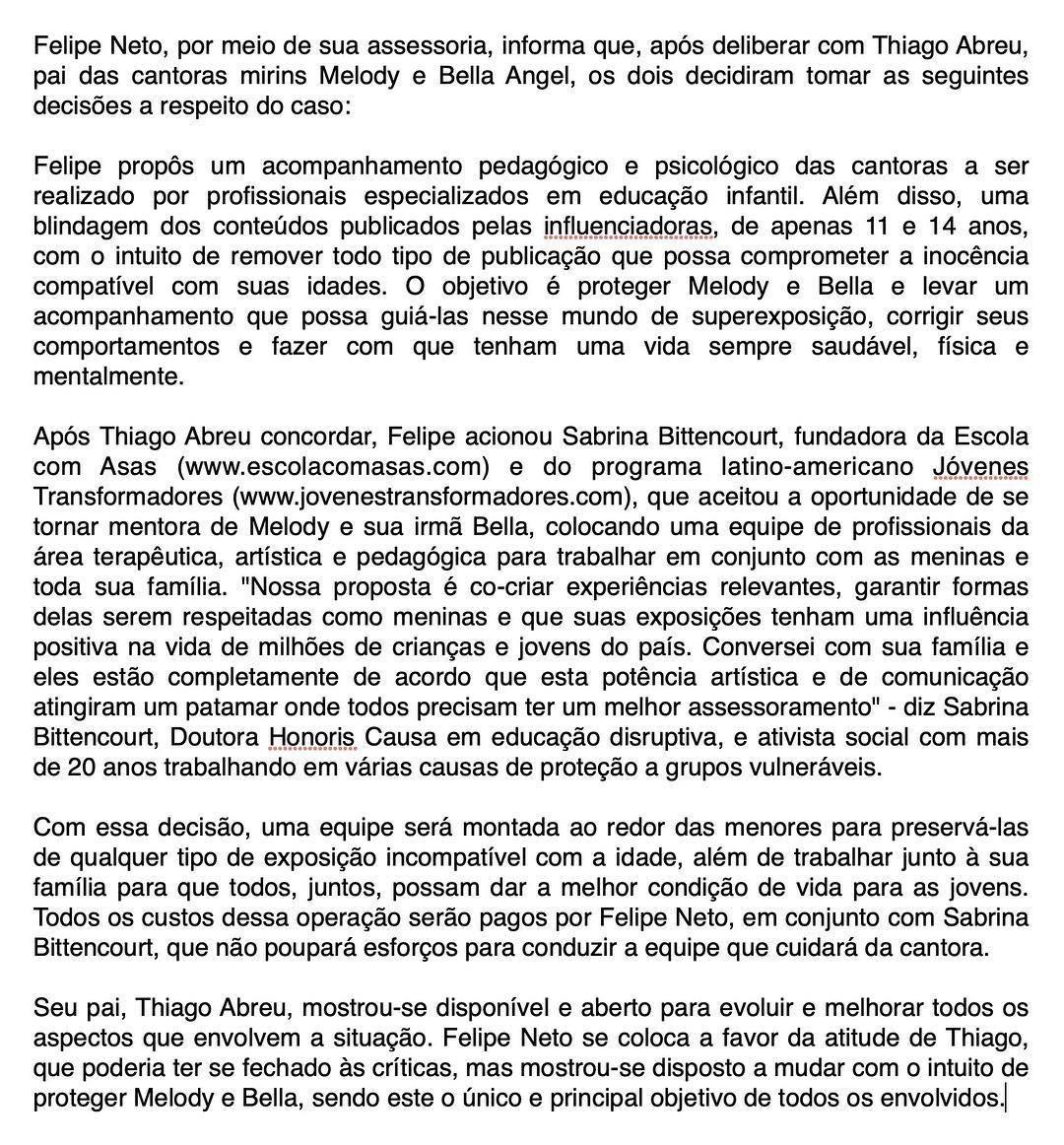 Comunicado Felipe Neto (Foto: Reprodução )