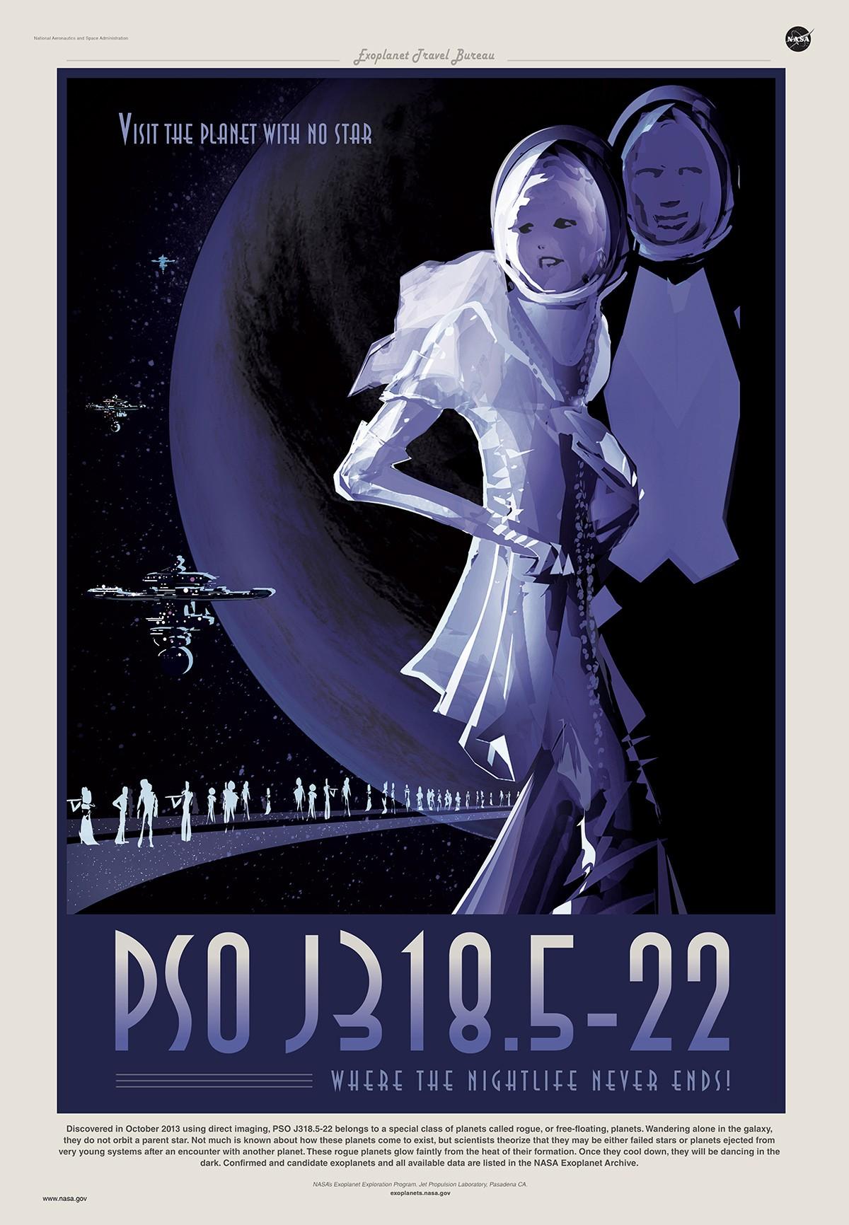 Poster baseado no exoplaneta PSO J318.5-22. (Foto: Nasa/Exoplanet Project)
