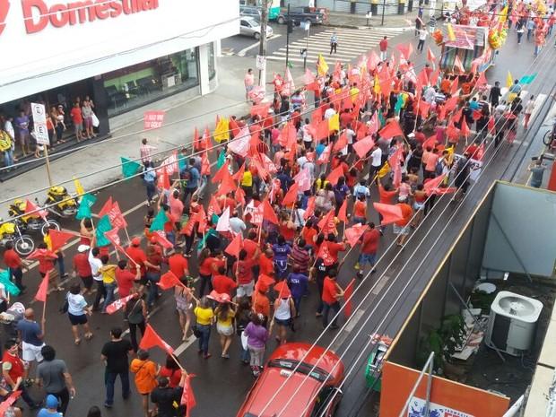 Manifestação, pró Dilma, Lula política, Macapá, Amapá (Foto: Jorge Abreu/G1)