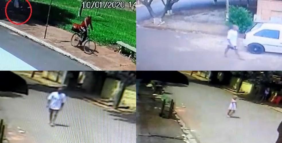 Vídeo mostra dois momentos em que suspeito fica perto da garota — Foto: Divulgação/Câmeras de Segurança