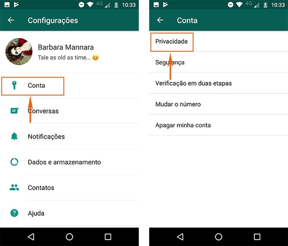 Encontre os ajustes de privacidade no WhatsApp (Foto: Reprodução/Barbara Mannara)
