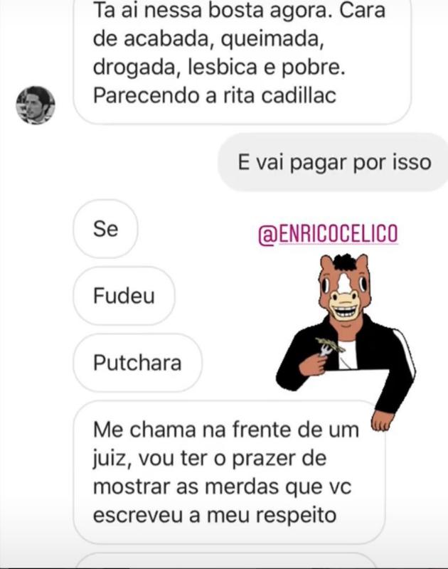 Conversa entre Vivi Orth e Enrico Celico (Foto: Reprodução/Instagram)