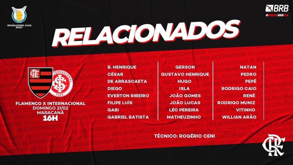Relacionados Flamengo Internacional — Foto: Reprodução