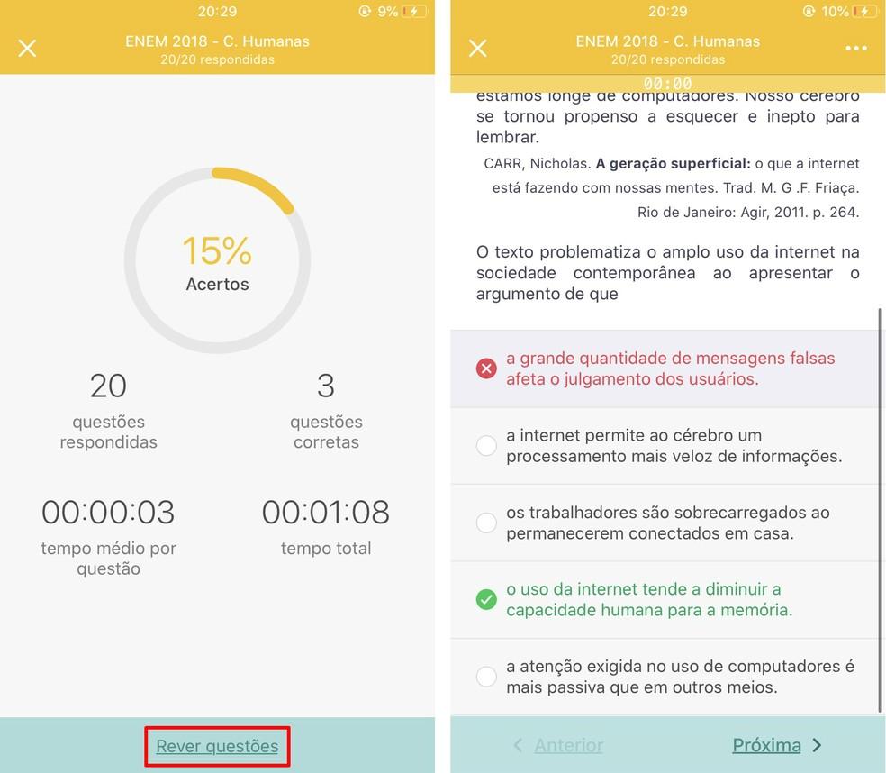 AppProva mostra desempenho do aluno no simulado e mostra questões que errou ? Foto: Reprodução/Rodrigo Fernandes