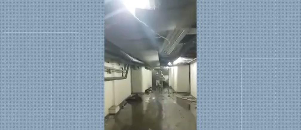 Imagem feita no interior do Hospital de Bonsucesso após incêndio — Foto: Reprodução/TV Globo