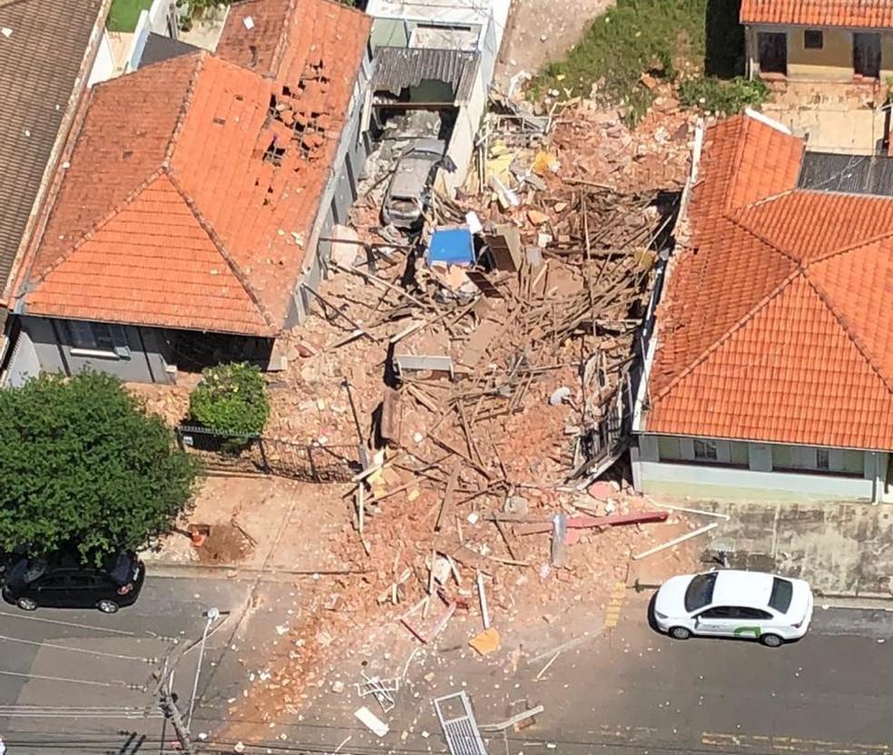 Casa do idoso ficou destruída com a explosão em Jundiaí — Foto: Arquivo pessoal