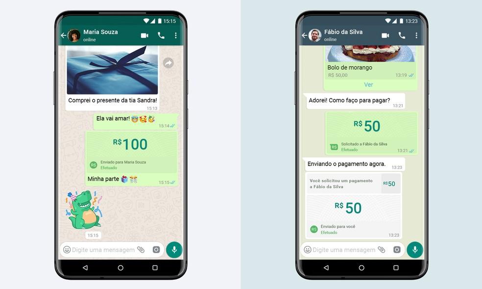 WhatsApp vai permitir fazer pagamentos a amigos e lojas pelo aplicativo. — Foto: Divulgação/WhatsApp