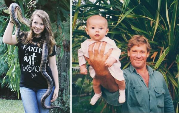 Bindi Irwin aos 18 anos e a foto publicada por ela em homenagem ao pai, Steve Irwin (Foto: Instagram)