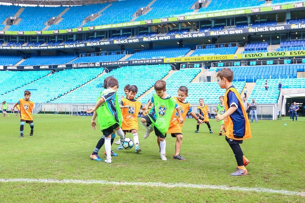 Crianças participam da 21ª edição do CBF Social na Arena  (Foto: Lucas Uebel / Grêmio, DVG)