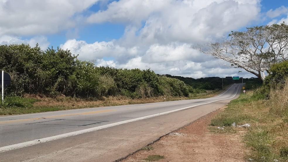 Quilômetro 33 da BR-226 no Rio Grande do Norte — Foto: Sérgio Henrique Santos/Inter TV Cabugi