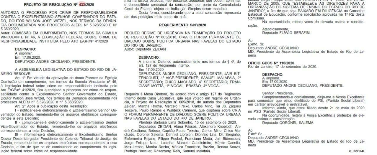 Projeto de Resolução que autoriza prosseguimento ao processo de impeachment de Witzel é publicado no Diário Oficial