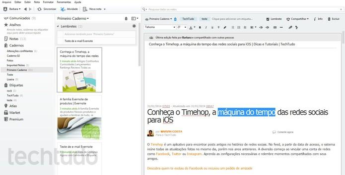 É possível editar texto e acessar links da página no Evernote (Foto: Reprodução/Barbara Mannara)