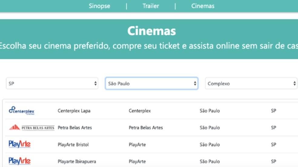 Usuário precisa escolher uma sala de cinema de destino do valor do ingresso — Foto: Reprodução/Paulo Alves
