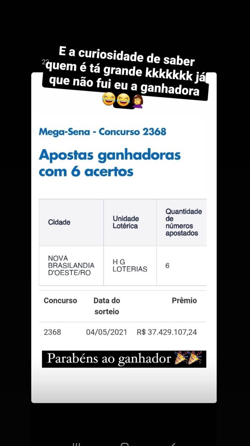 Internautas brincam sobre prêmio da Mega em Nova Brasilândia — Foto: Facebook/Reprodução