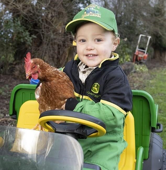 Freddie e uma das galinhas da fazenda (Foto: Reprodução Daily Mail)