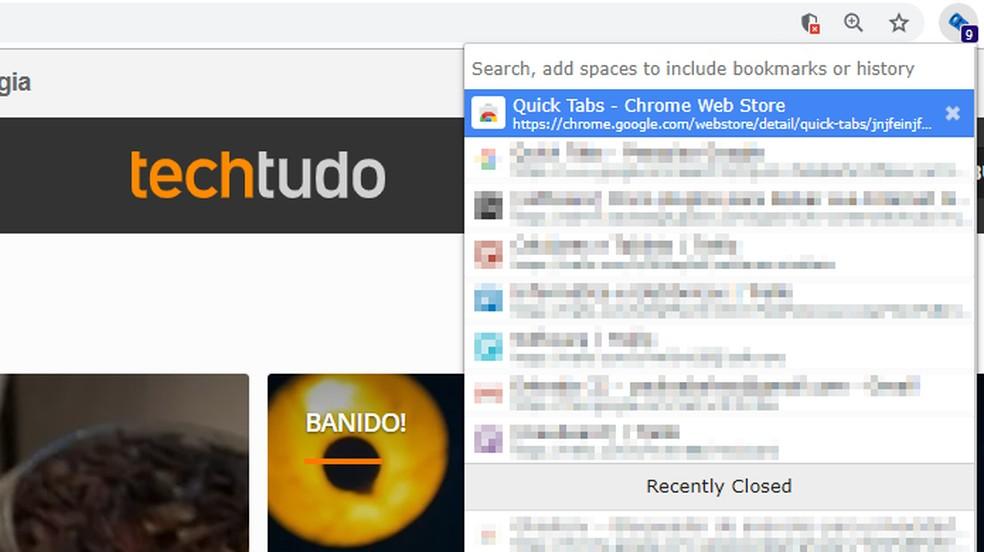 Quick Tabs cria lista de abas abertas para acesso rápido — Foto: Reprodução/Paulo Alves
