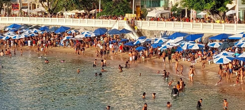 Praia do Porto da Barra, em Salvador — Foto: Thiago Lordelo/Arquivo pessoal