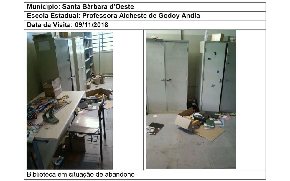 Biblioteca abandonada em Santa Bárbara d'Oeste — Foto: Reprodução/TCE