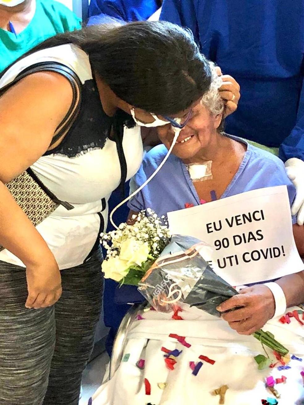 Luzia Angelita Costa recebeu alta da Covid-19 após 90 dias internada no Hospital Universitário, em São Luís — Foto: Divulgação/HUUFMA