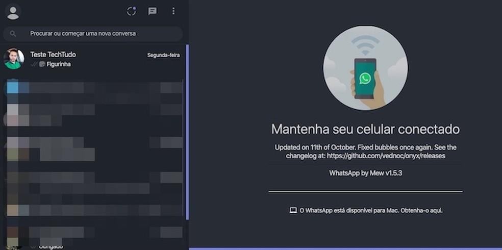 WhatsApp Web com tema escuro — Foto: Reprodução/Helito Beggiora