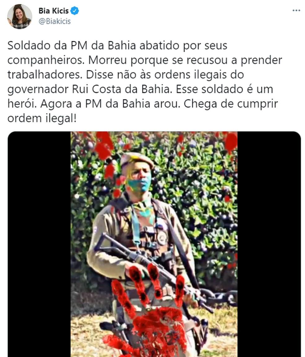 Bia Kicis faz post dizendo que PM foi morto por se recusar a 'prender trabalhadores' — Foto: Reprodução / Redes Sociais