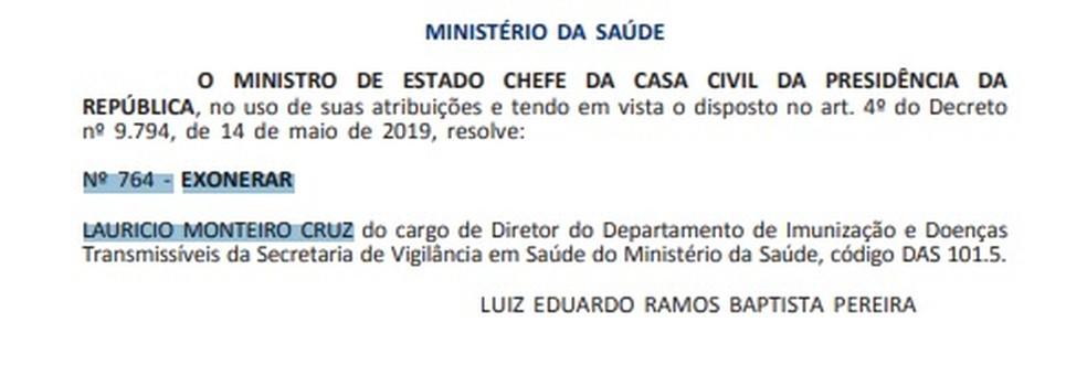 Trecho do 'Diário Oficial da União' com exoneração de Lauricio Monteiro Cruz — Foto: Reprodução/ Diário Oficial da União