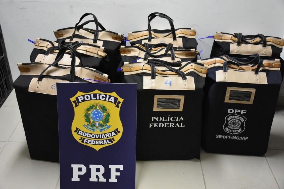 Dinheiro foi encaminhado para a Polícia Federal (PF)  (Foto: Divulgação/PRF)