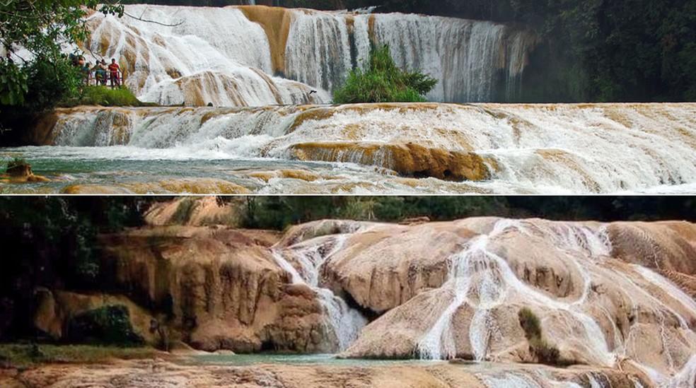 A principal cachoeira de Água Azul ficou sem água em questão de horas (Foto: Dezalb/Creative Commons/Alfonso García)
