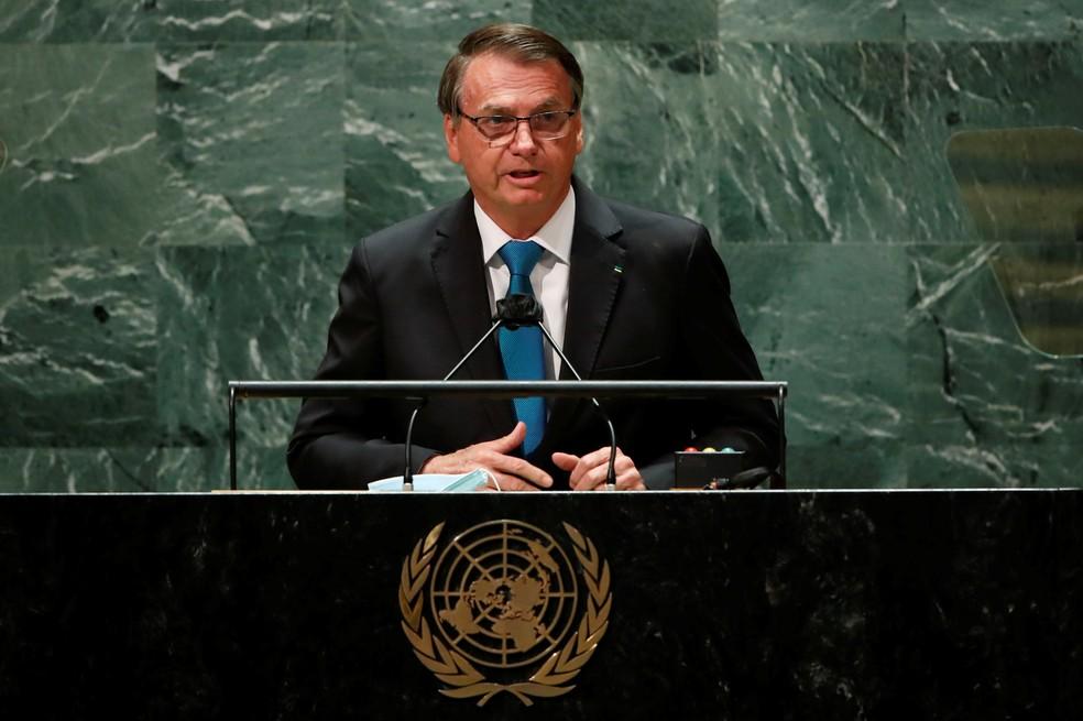 Bolsonaro na ONU — Foto: Eduardo Munoz/Reuters