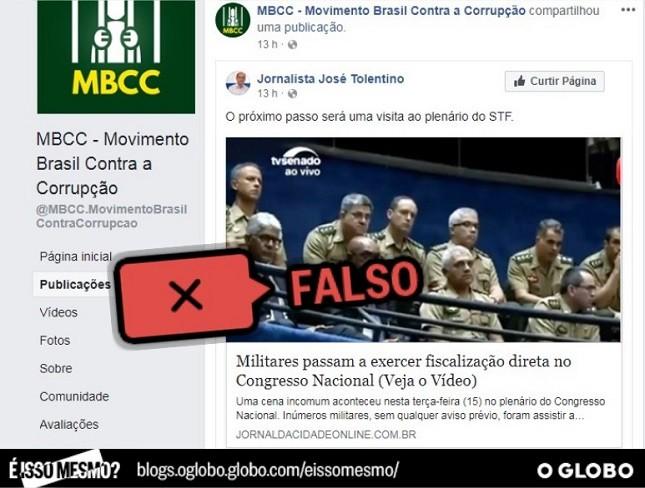 Informação de que militares estão fiscalizando Congresso é falsa