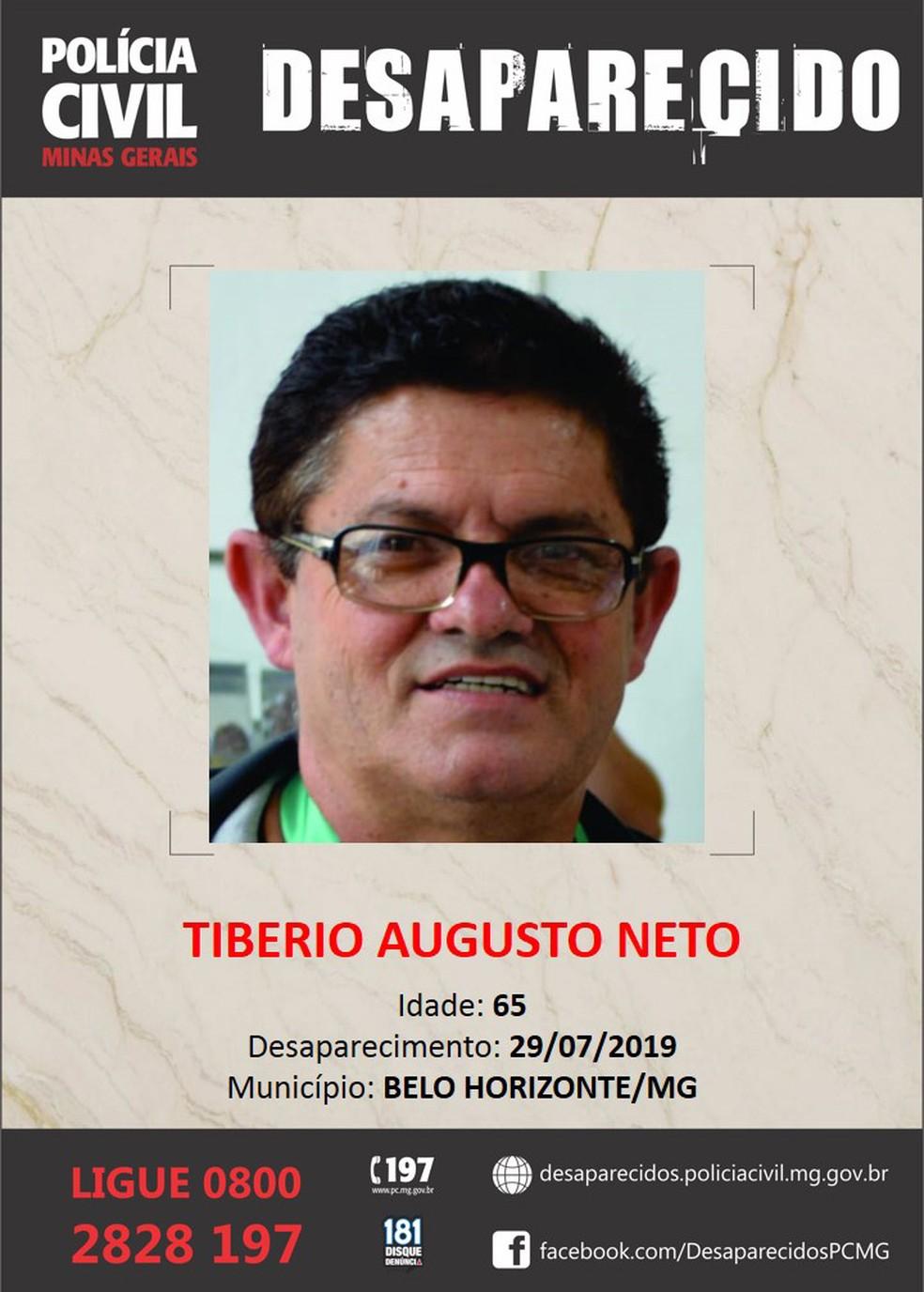 Tibério Augusto Neto estava desaparecidos desde o dia 29 de julho — Foto: Polícia Civil/Divulgação