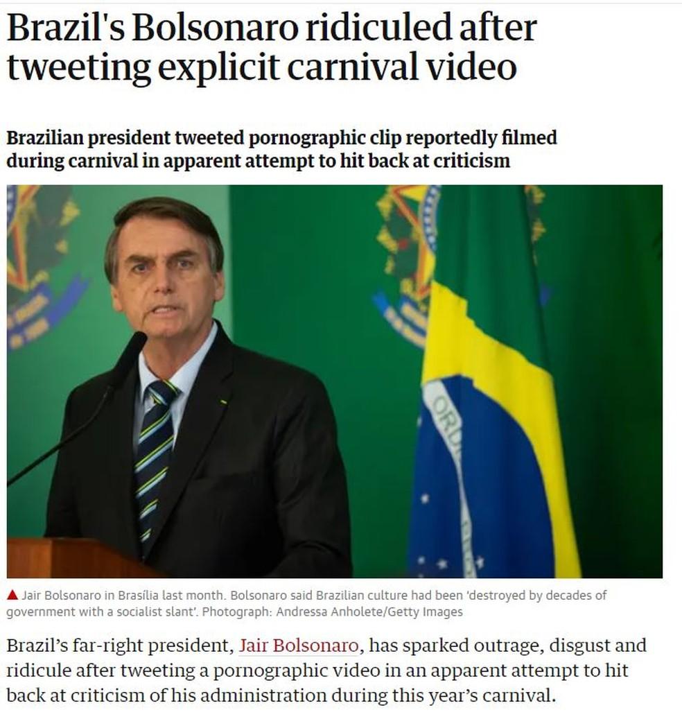 Bolsonaro virou notícia no britânico 'The Guardian' após post com vídeo pornográfico — Foto: Reprodução/The Guardian