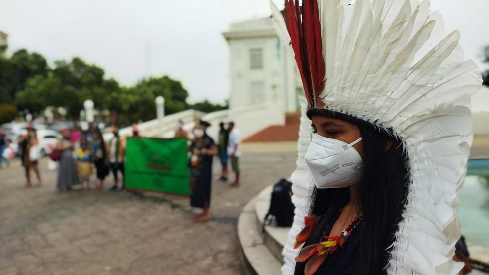 Indígenas dizem que a demarcação de terras está parada  — Foto: Cassius Afonso/Rede Amazônica Acre