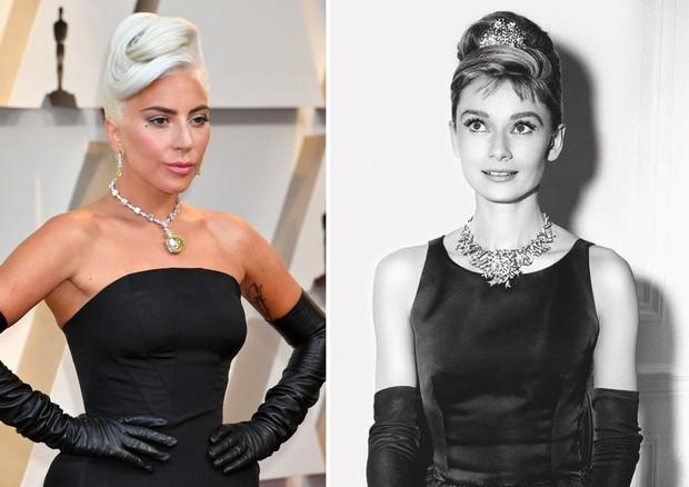 Lady Gaga e Audrey Hepburn (Foto: Getty Images e Reprodução)