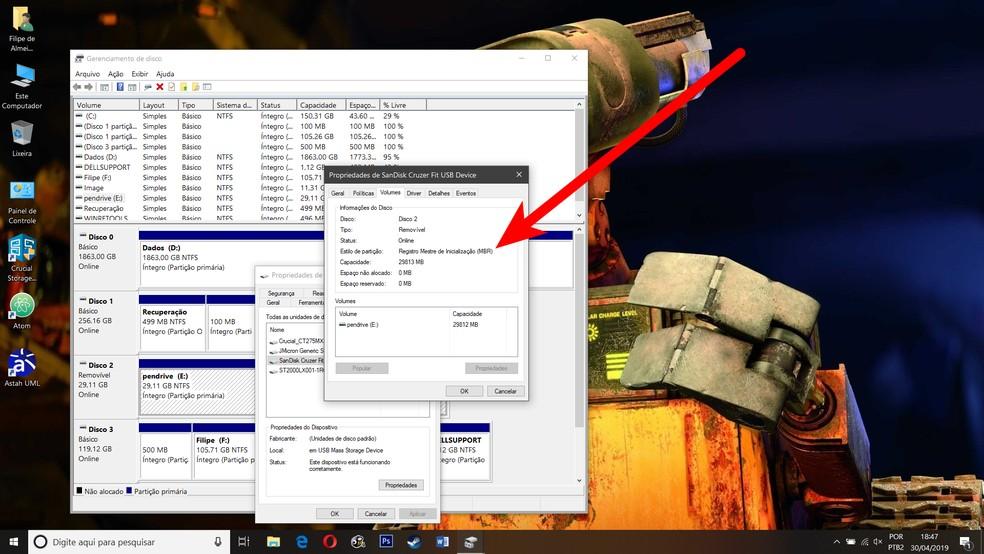Você pode inspecionar seus discos no Windows, ou em qualquer sistema, para descobrir que tipo de particionamento eles usam — Foto: Reprodução/Filipe Garrett