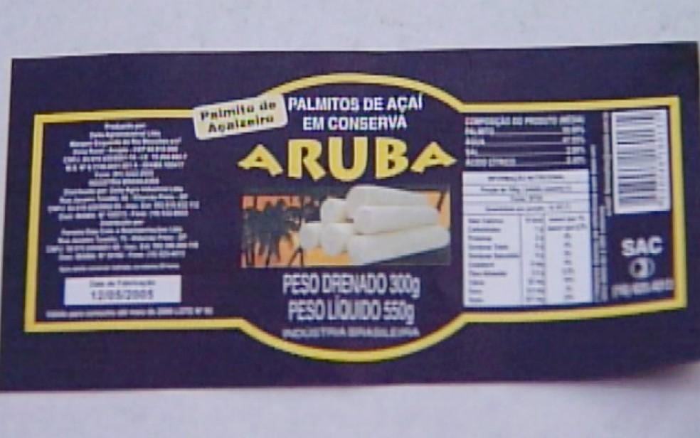 Rótulo dos palmitos Aruba, produzido pela Delta Agro Industrial de Ribeirão Preto — Foto: Reprodução/EPTV/Arquivo