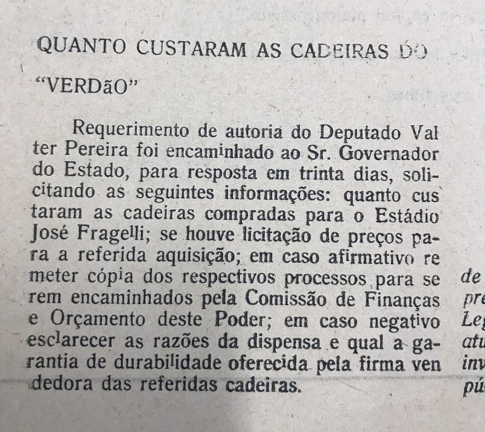 Requerimento de deputado é notícia em jornal — Foto: Arquivo Público/Reprodução