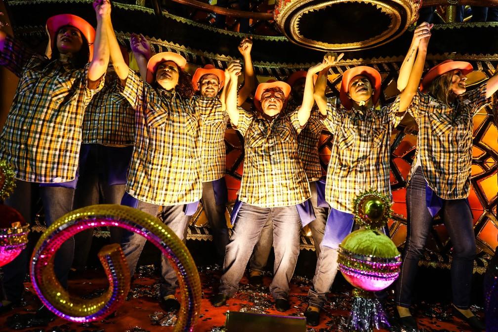 Enredo da Dragões da fiel mostrou como música sertaneja passou de brega a chique (Foto: Fábio Tito/G1)