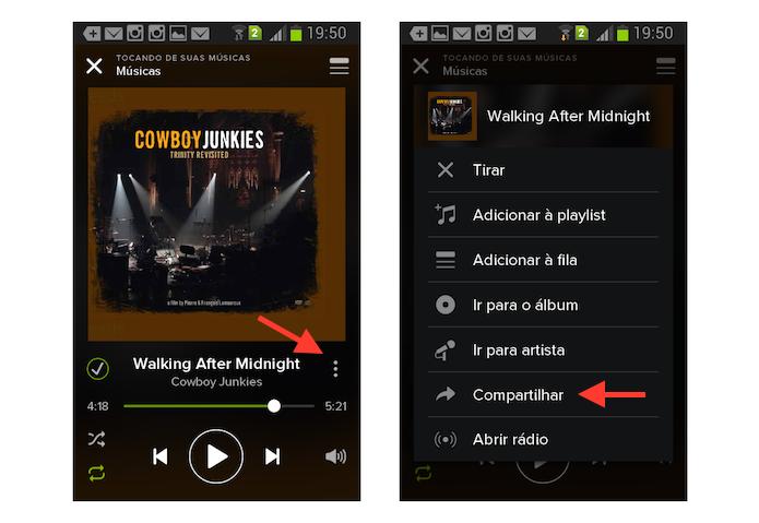 Acessando a ferramenta de compartilhamento do Spotify na versão para Android (Foto: Reprodução/Marvin Costa)