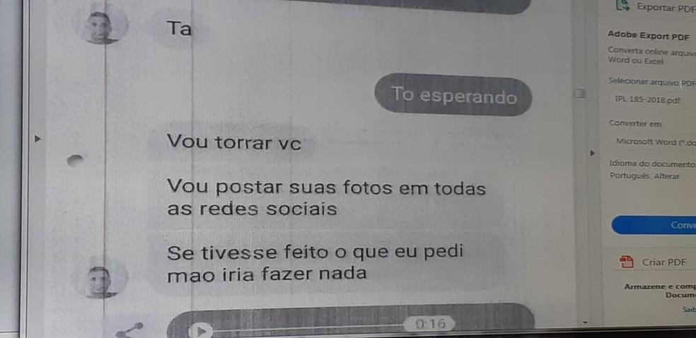 Mensagens foram encontradas no celular do suspeito, segundo a Polícia Civil — Foto: Polícia Civil/ Divulgação