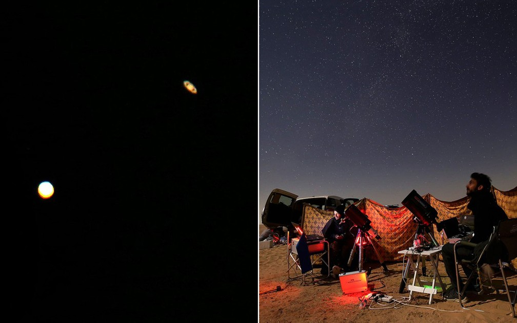 Montagem alinhamento Júpiter e Saturno — Foto: Yasser al-Zayyat /AFP