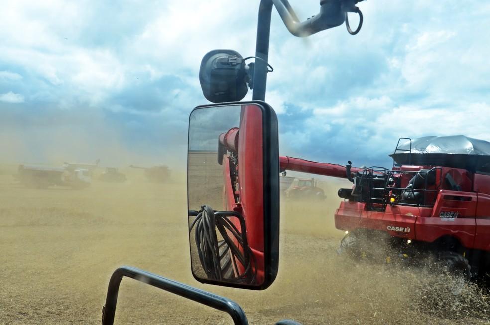 Colheitadeira de soja no Piauí máquina agrícola  — Foto: André Schaun