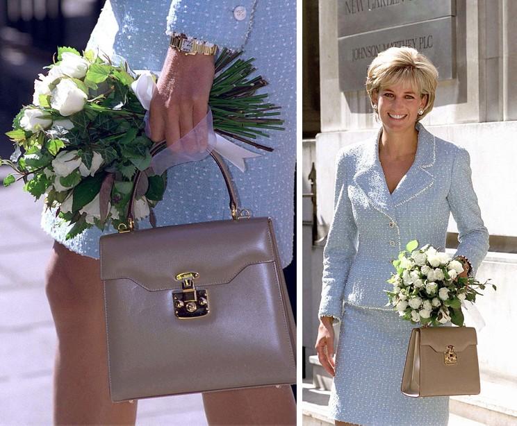 O relógio Cartier Tank Française de ouro de Meghan pertencia a Diana, que é vista usando na British Lung Foundation em 1997 (Foto: Getty Images)