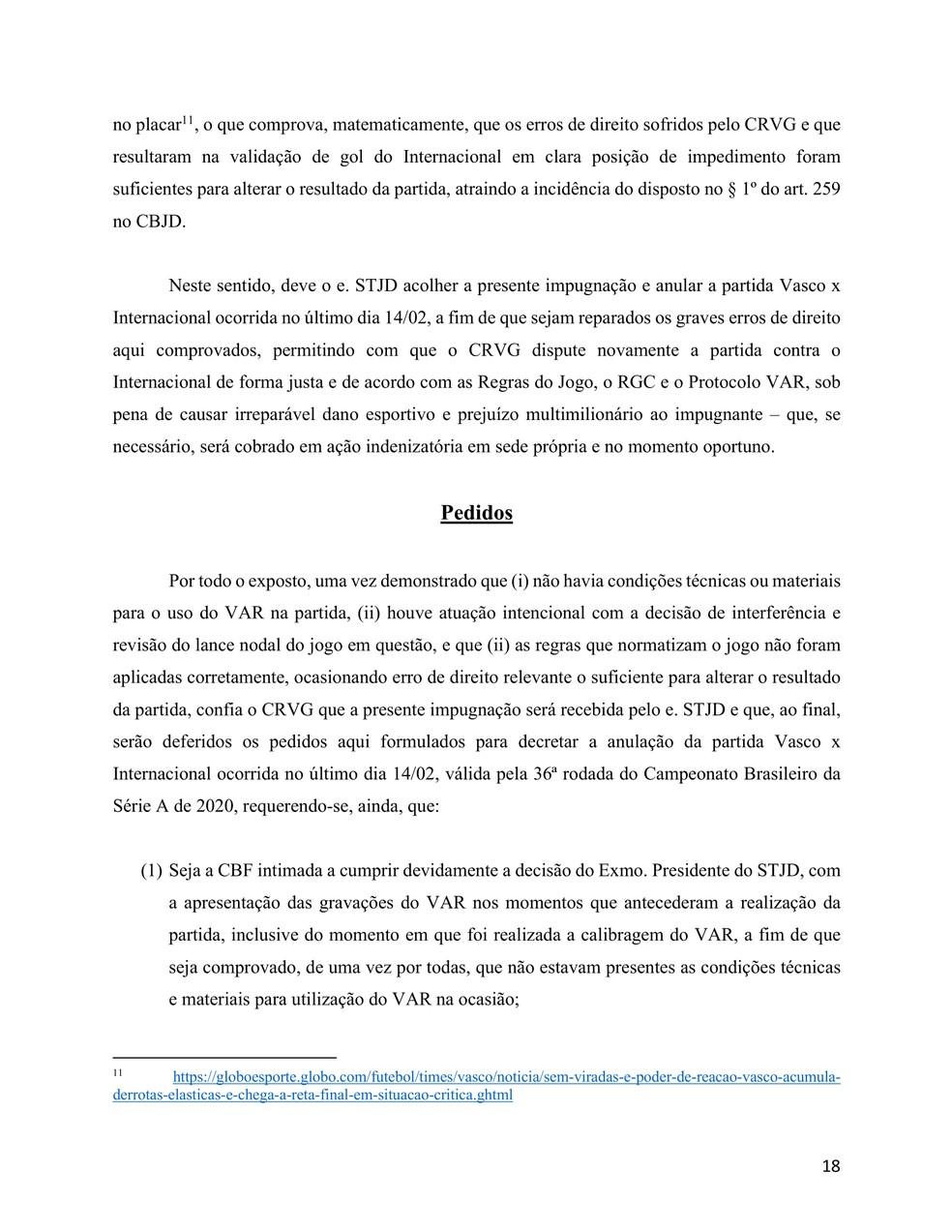 Vasco reitera pedido pelas imagens do VAR do pré-jogo de Vasco x Inter — Foto: Reprodução