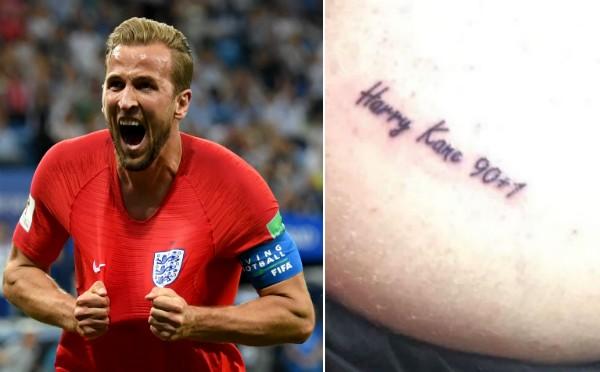 O jogador inglês Harry Kane celebrando seu segundo gol contra a Tunísia na Copa do Mundo e a tatuagem feita pelo torcedor inglês (Foto: Getty Images/Instagram)