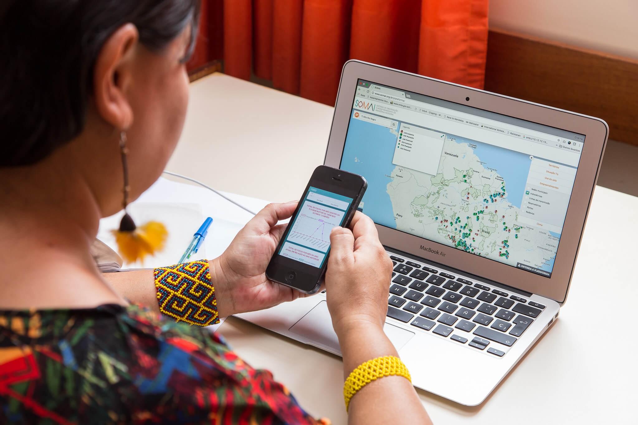 Alerta Clima Indígena: o aplicativo reúne informações dos índios e para os índios.  (Foto: IPAM)