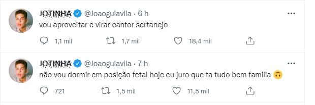 João Guilherme posta após boatos de Jade Picon e Neymar ficaram ganhar web (Foto: Reprodução/Twitter)