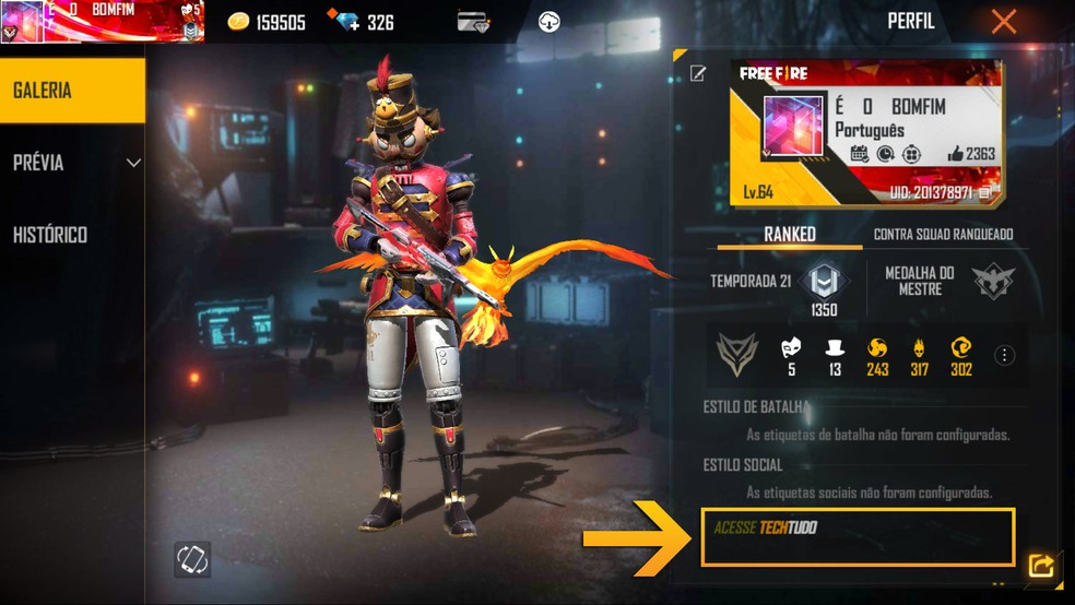 Vá ao perfil do jogador para ver o resultado da personalização da assinatura — Foto: Reprodução/Leandro Eduardo