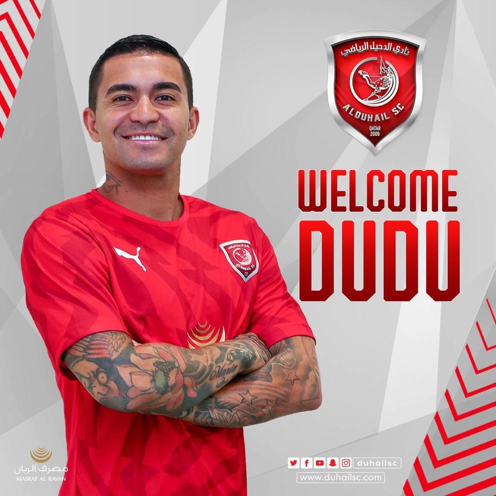 Dudu anunciado pelo Al Duhail, do Catar, por um ano de empréstimo — Foto: Divulgação